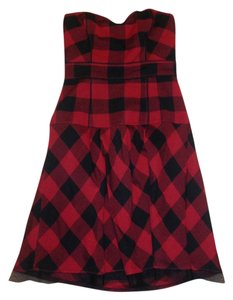 American Eagle Outfitters short dress Red and Black Flannel Tulle A-line Winter on Tradesy