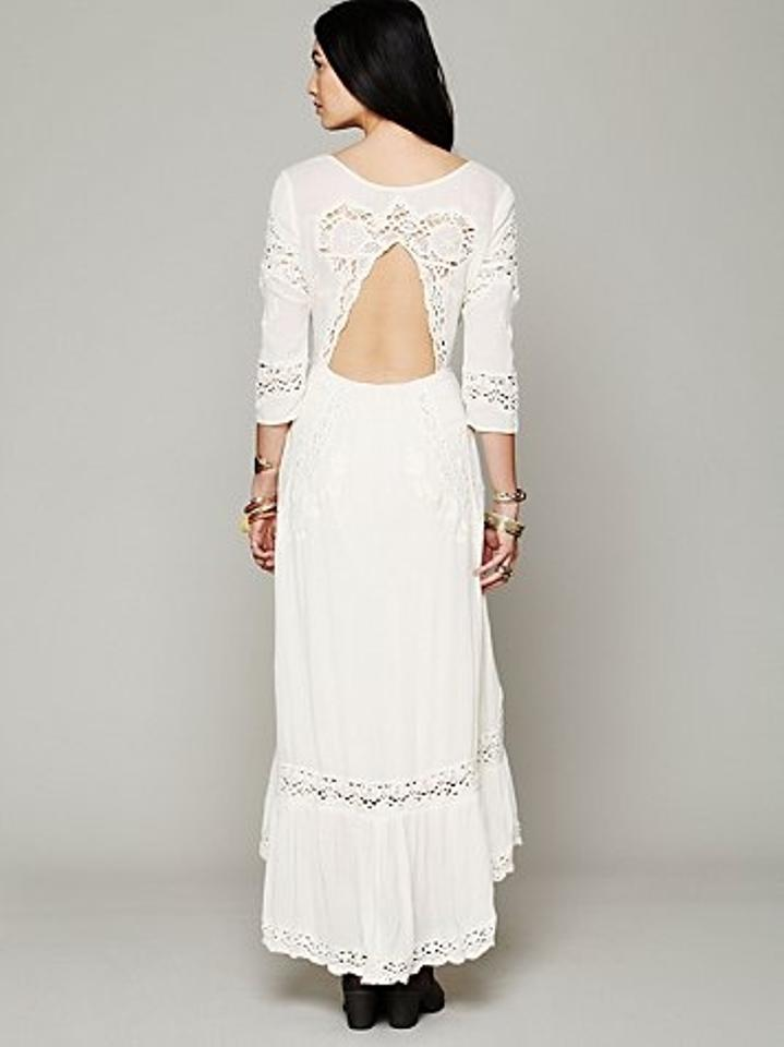 Free People Ivory Rayon Mexican Casual Wedding Dress Size 12 (L ...