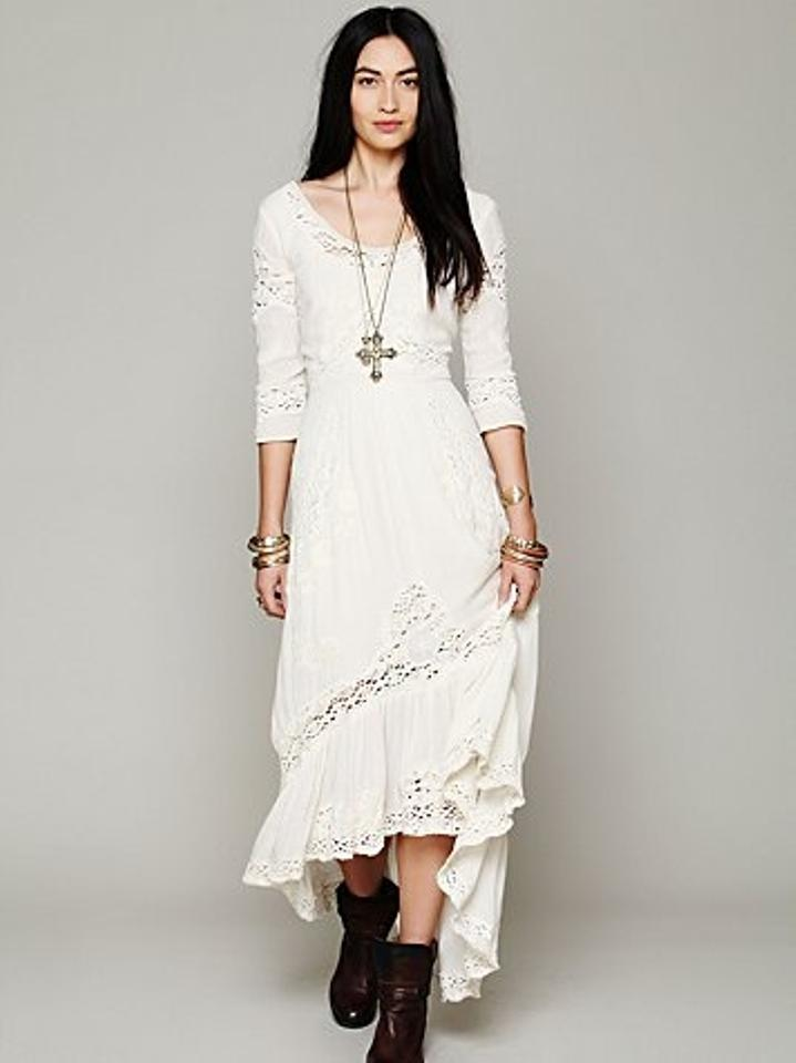 Free People Ivory Rayon Mexican Casual Wedding Dress Size 12 L