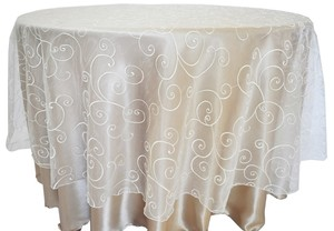 "Ivory 90 "" Round Embroidered Organza Table Overlay Tablecloth"
