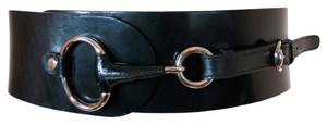 Gucci Giant horsebit hardware black leather wide belt