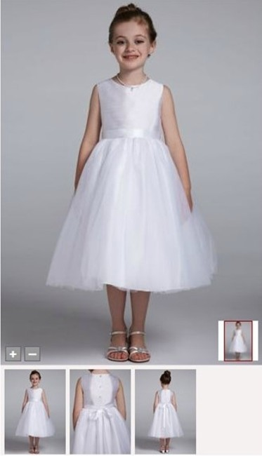 Item - White Polyester and Tulle Girl Flower Shantung Tank with Full Skirt Girls Formal Bridesmaid/Mob Dress Size 10 (M)