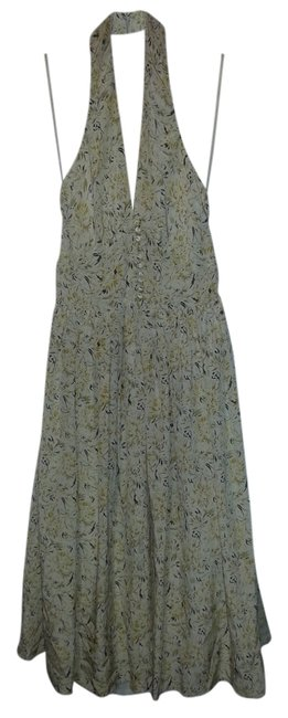 Item - Beige with Yellow Flowers Mid-length Cocktail Dress Size 2 (XS)