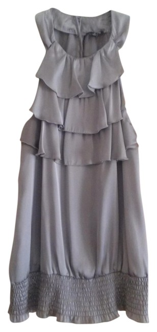 Apt. 9 Silk Ruffle Business Casual Date Night Night Out Top Silver