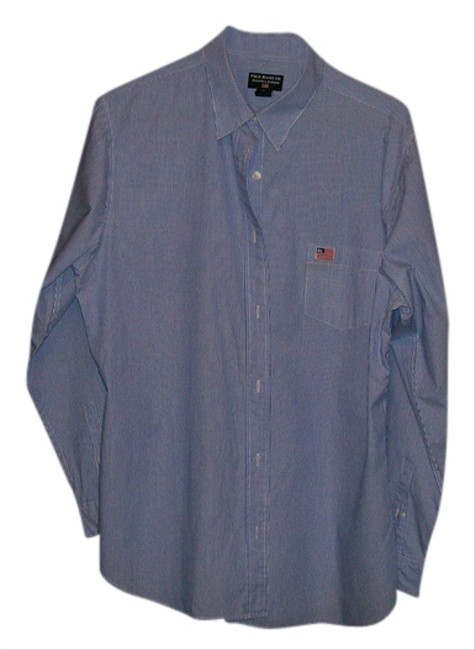 Ralph Lauren Button Down Shirt blue and white pintsripe