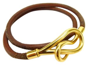 Hermès Authentic Hermes Bracelet Unisex Jumbo Brown Leather & Gold Hardware Good Condition
