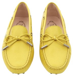 Tod's Flat Tods Saffiano Driving Yellow Flats