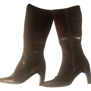 Enzo Angiolini Chunky Embossed Leather Snakeskin Effect Brown Boots