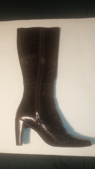 Enzo Angiolini Chunky Stretchy Square Toe Embossed Leather Snakeskin Effect Brown Boots