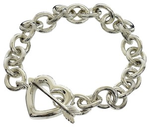 Tiffany & Co. Tiffany & Co. Sterling Silver Chain Link Heart & Arrow Toggle Clasp Bracelet