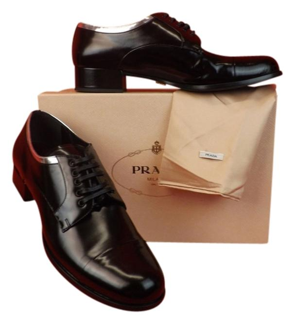 Item - Black Silver Leather Lace Up Cap Toe Oxfords Formal Shoes Size EU 40 (Approx. US 10) Regular (M, B)