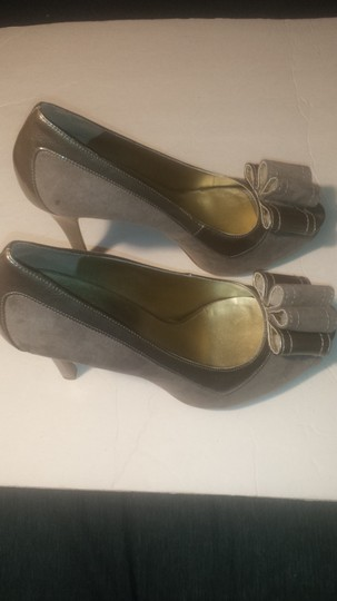 Nine West Pump High Heel Bow Open Toe Gray Platforms Image 2