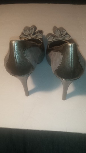 Nine West Pump High Heel Bow Open Toe Gray Platforms