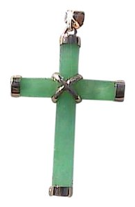 Other 14k Yellow Gold Jadeite Green Jade Cross Pendant