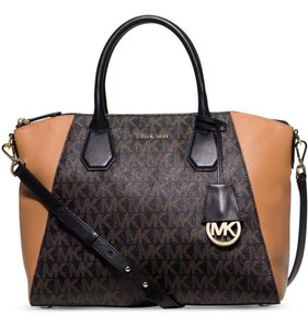 Michael Kors Roomy Leather Geometric Panels Large Campbell Signature Logo Jacquard Satchel in Black / Dark Brown