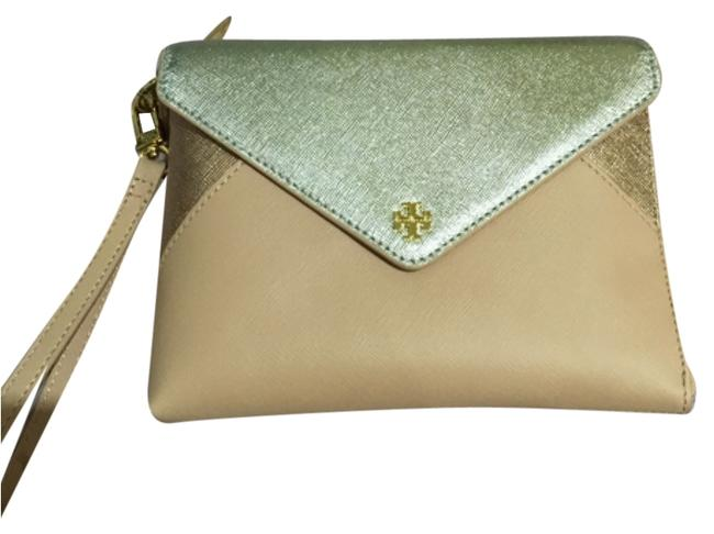 Item - Metallic Color Block Large Indian Rose Saffiano New Pink Gold Silver Leather Wristlet