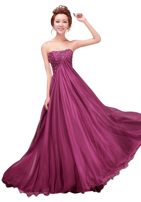 Jo Chiffon Strapless Train Party Ball Gown Bridesmaid Evening Prom Dress