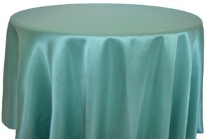 "Tiffany Blue/Aqua 132 "" Round Satin / Tablecloth"