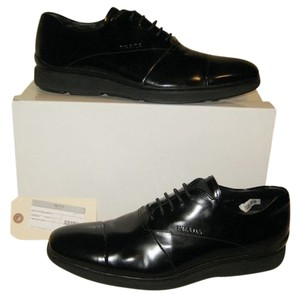 Prada Black Leather Oumo Cap Toe Logo Driver Dress Lace Up Oxford 9 10 Italy Shoes