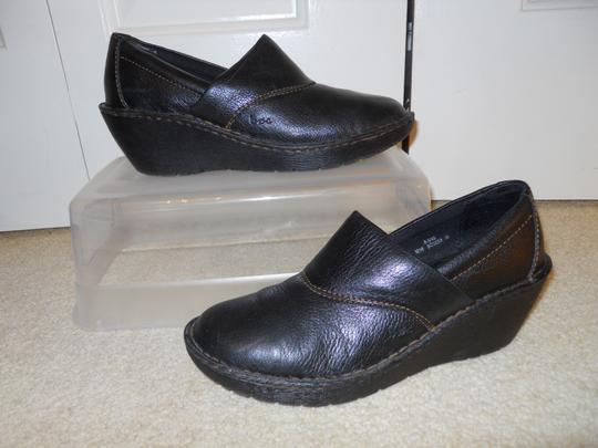 Brn Concept Leather Wedge black Mules