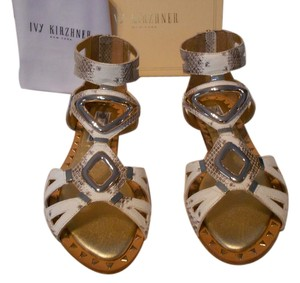 Ivy Kirzhner Snake Embossed Gold Tone Accents Natural/Brown Sandals