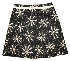 Flowers Printed Bow Skirt Black, Ivory, Gold