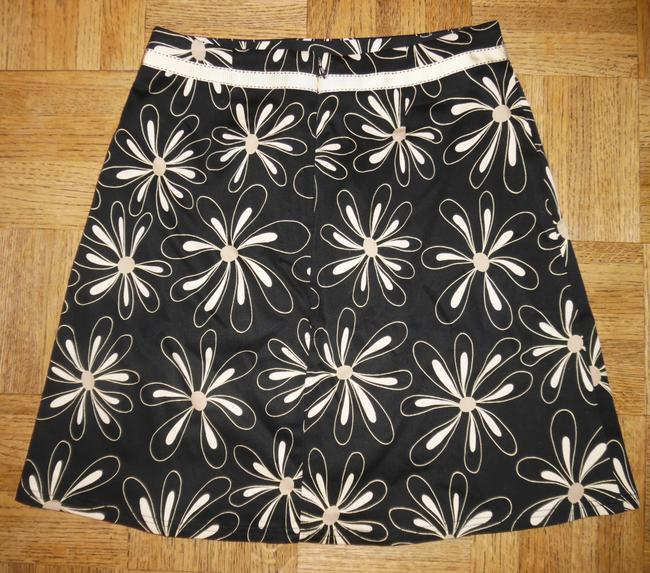 Other Flowers Printed Bow Skirt Black, Ivory, Gold