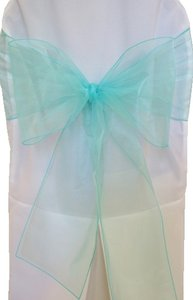 8 X 108 Tiffany Blue / Organza Chair Sashes