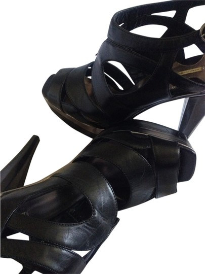 Max Studio Leather Leather Stacked Pump Strappy Crisscross Strap Ankle Strap Black Platforms