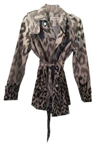 Calvin Klein Trench Ombre Leopard Animal Print Trench Coat