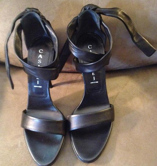 Casadei Leather High Heel Italy Black Sandals