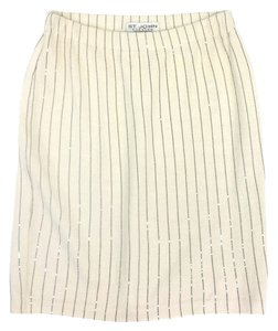 St. John White Black Stripe Knit Skirt