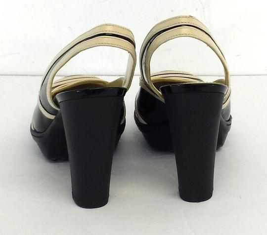 Tod's Cream Black Patent Leather Heels Sandals