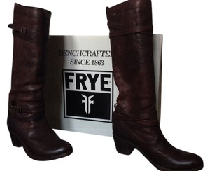 Frye Distressed Leather Boot Dark Brown Boots
