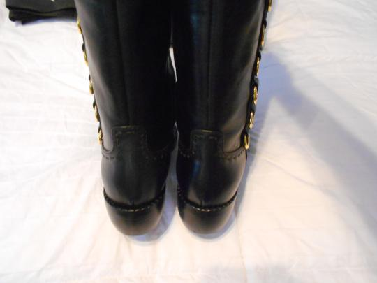 Giuseppe Zanotti Pick Stitch Accent Goldtone Circles Black Boots