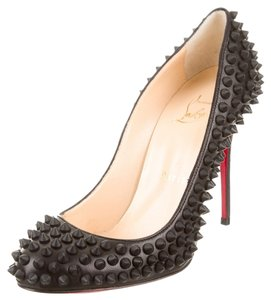 Christian Louboutin Leather Round Toe Black Pumps