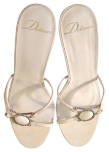Delman Fabric Rhinestones White Sandals