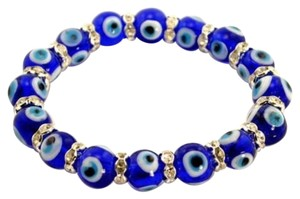 Other NEW EVIL EYE HAMSA BEAD BRACELET CZ Crytal Cobalt Blue Stretch Good Luck Protect