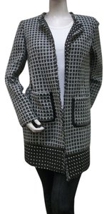 Laundry by Shelli Segal LAUNDRY Black White Print Open Front Jacket Coat Style# N3F24S01 Size 10 New NWT