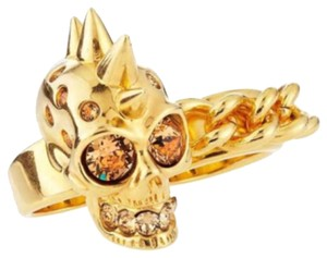 Alexander McQueen Alexander McQueen Gold Tone And Swarovski Crystal Double Knuckle Skull Ring Size 6.5
