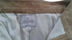 Trussardi Suede Designer Made In Italy Straight Pants beige suede