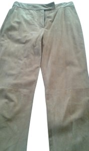 Trussardi Suede Designer Made In Italy Straight Pants beige honey