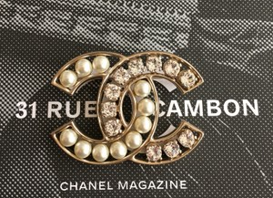 Chanel Chanel Large Pearl Crystal CC Logo Brooch