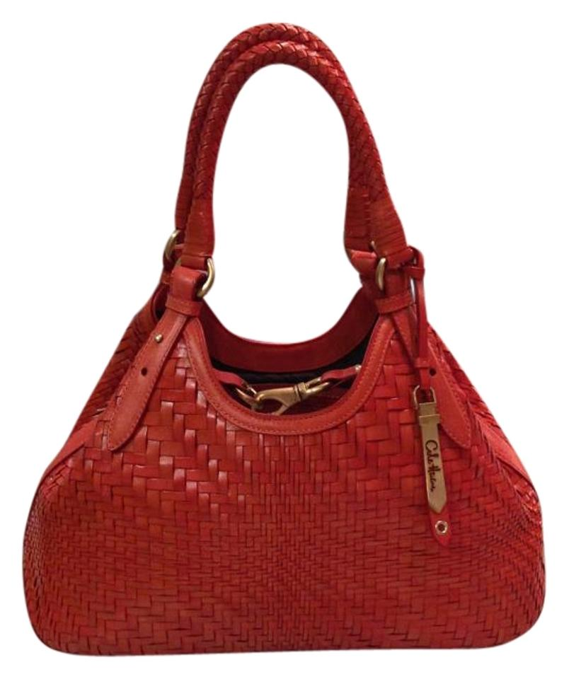 Cole Haan Genevieve New Woven Weave Triangle Hobo Satchel Handbag Spicy  Orange Red Orange Brown Leather Tote 198e74fa24a76