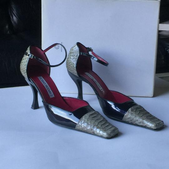 Luciano Padovan Vintage Patent Leather Snakeskin Ankle Strap Navy/Grey Pumps