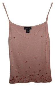 Ann Taylor Summer Silk Embroidered Top Pink Sweater Cami with Sparkle Flowers