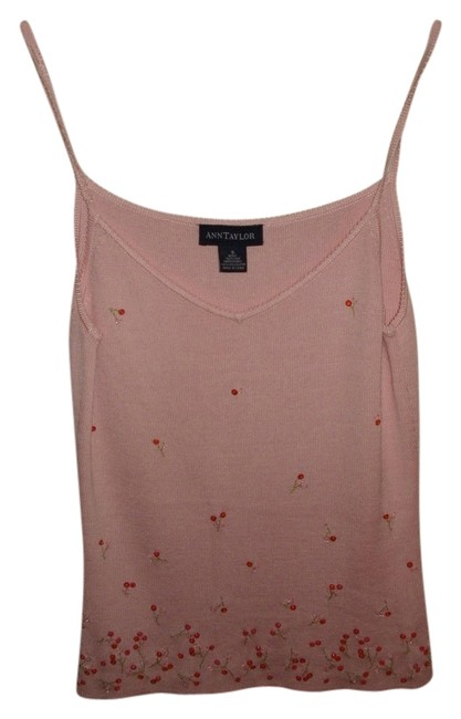 Ann Taylor Summer Camisole Silk Embroidered Top Pink Sweater Cami with Sparkle Flowers