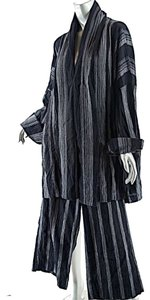 Elemente Clemente ELEMENTE CLEMENTE Black/Gray Cotton Blend Striped Relaxed PANTSUIT - O/S + Sz 2