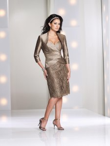 Montage by Mon Cheri Toupe Silk Essence and Lace 113843 Modest Bridesmaid/Mob Dress Size 6 (S)