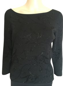Carmen Marc Valvo Beaded Embellished 3/4 Sleeve Top Black